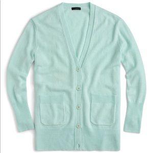 J. Crew oversize wool blend v neck cardigan aqua